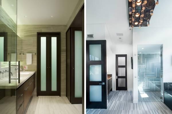 Темный цвет дверей в интерьере ванной со светлым полом
