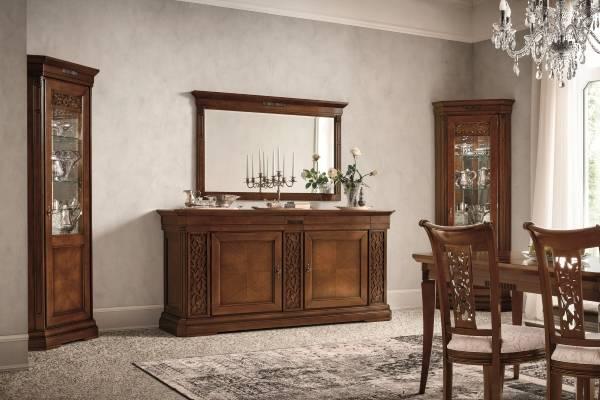 Красивая угловая витрина для гостиной в классическом стиле