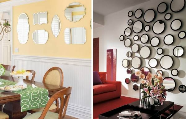 Как можно украсить стену с зеркалами - фото