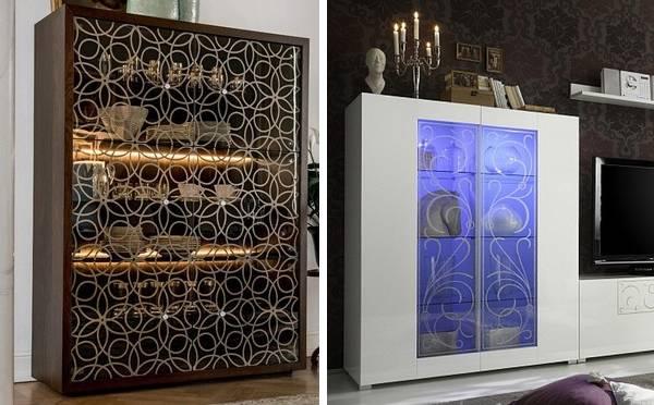 Современная мебель - витрины со светодиодной подсветкой