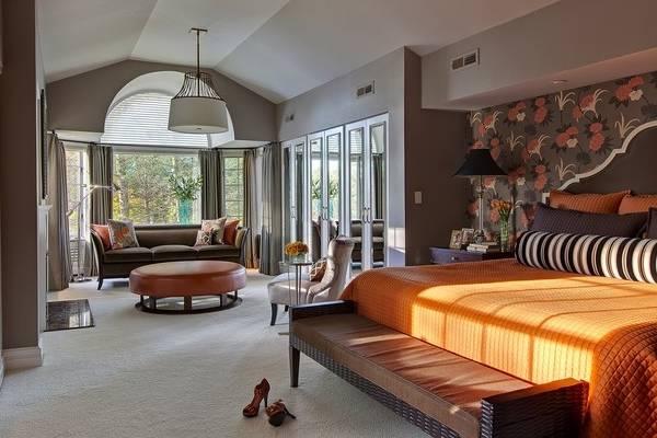 Оригинальный дизайн спальни с гардеробной - фото 2016