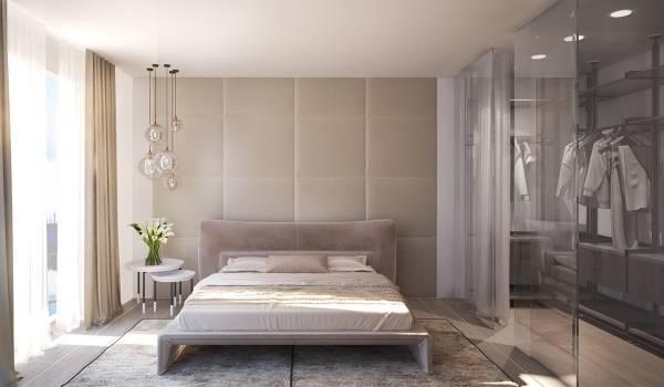 Современный дизайн спальни с гардеробной - фото