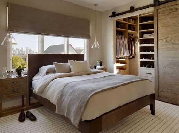 Встроенная гардеробная в спальне - фото шкаф в нише