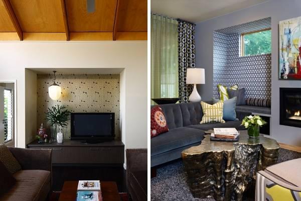 Сочетание разных обоев в интерьере зала - фото 2016