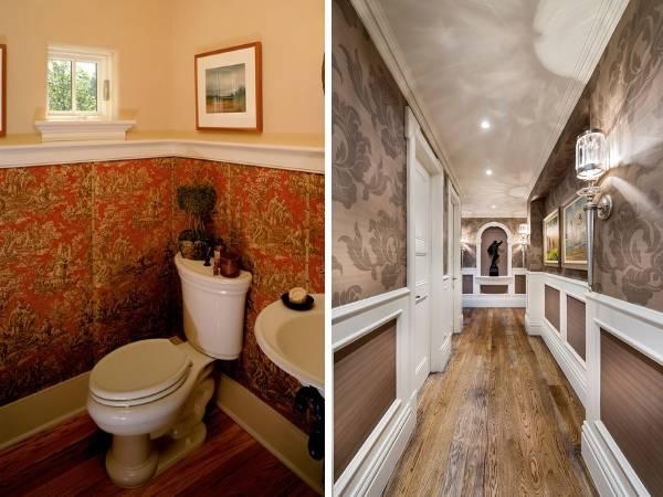 Как комбинировать обои между собой - фото ванной и коридора