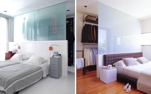 Встроенная гардеробная в спальне - фото своими руками