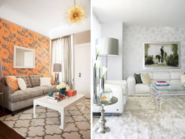 Оклейка стен разными обоями - красивое комбинирование обоев - фото гостиной