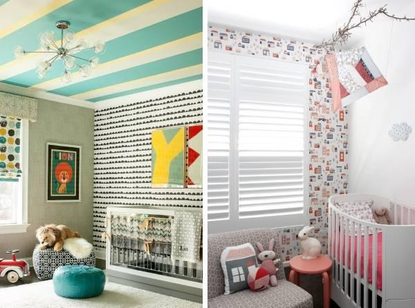 Как комбинировать обои в дизайне детской комнаты