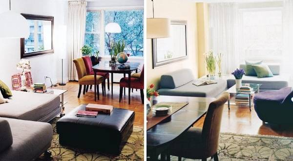 Планировка зала до и после перестановки мебели на фото