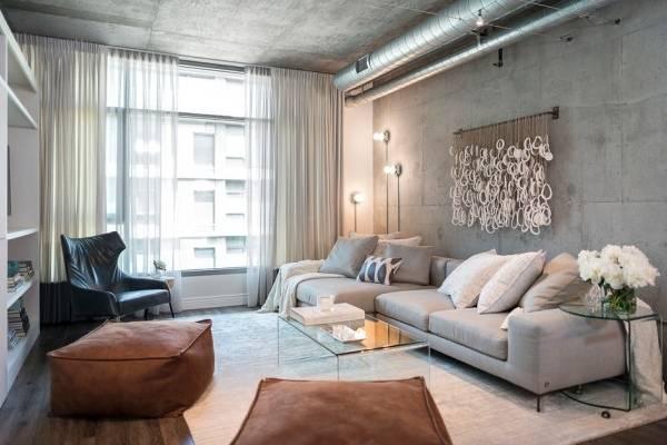 Планировка гостиной в квартире в стиле лофт