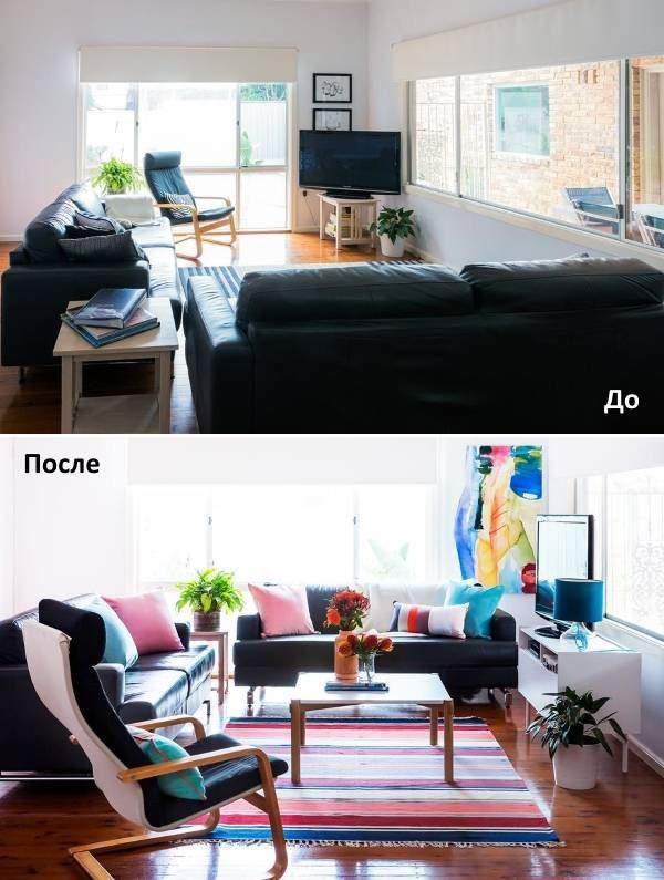 Правильная планировка гостиной - фото до и после