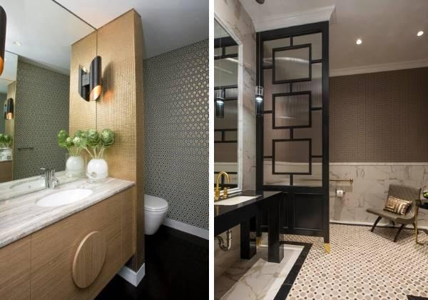 Идеи комбинирования обоев с плиткой - фото ванной комнаты