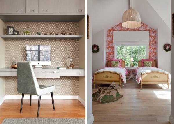 Способы комбинирования обоев для стен на фото интерьеров