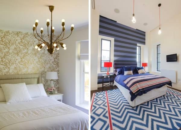 Лучшие идеи как комбинировать обои для стен - фото спальни