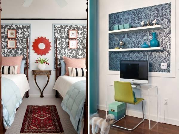 Декоративные вставки из обоев на стене - фото 2016