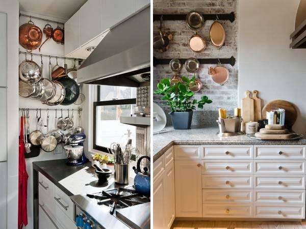 Компактные рейлинговые системы для кухни - 25 идей как повесить