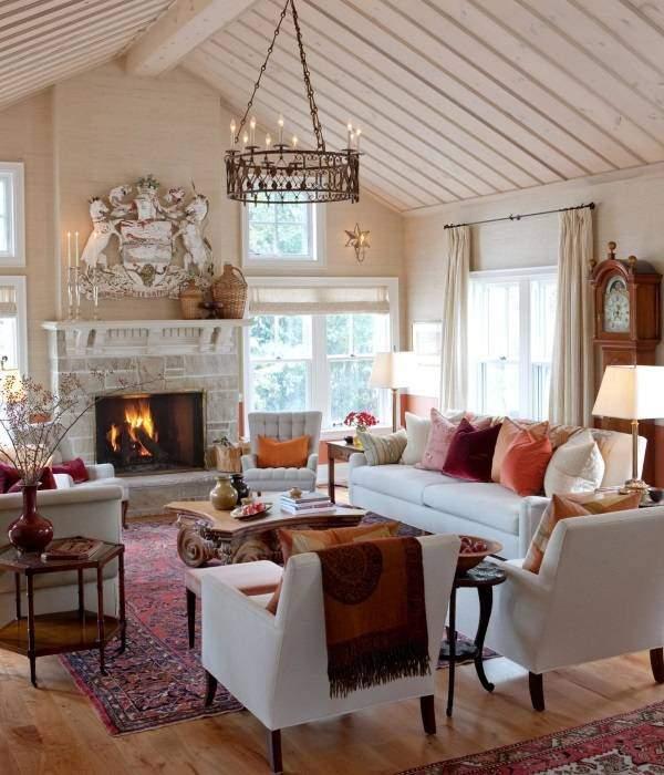 Теплые осенние мотивы в интерьере - фото гостиной
