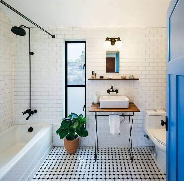 Совмещенная ванная в стиле лофт - маленькая площадь с унитазом
