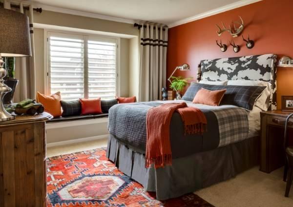 Осенний дизайн интерьера - фото спальни