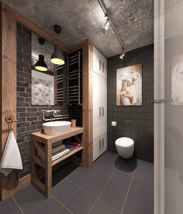 Современные светильники в стиле лофт в ванную - фото