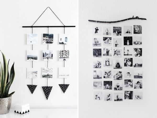 Оригинальное оформление фотографий на стене