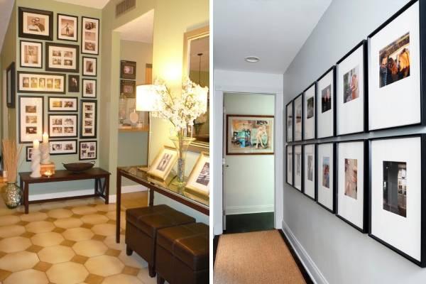 Семейные фотографии на стене - идеи оформления с 30 фото