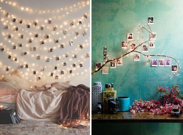 Необычные идеи оформления фотографий на стене