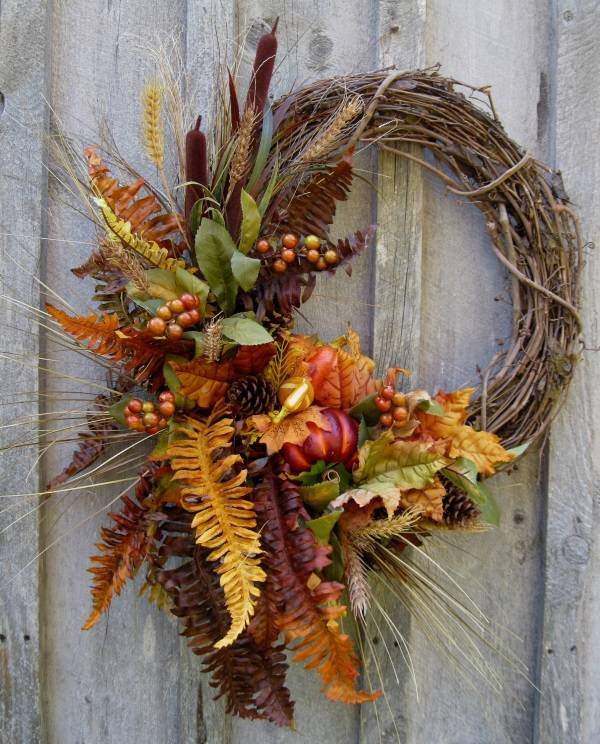 Осенние венки из природного материала - подборка фото