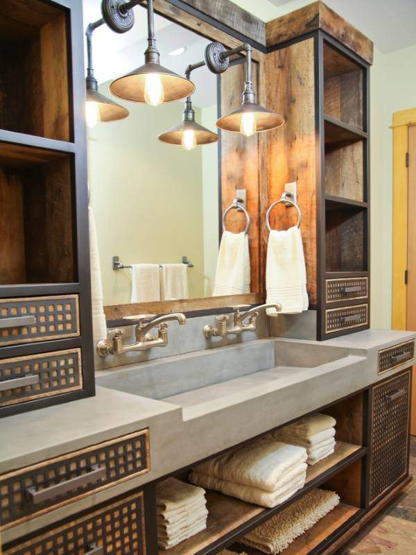 Красивая тумба под умывальник с шкафчиками в стиле лофт для ванной