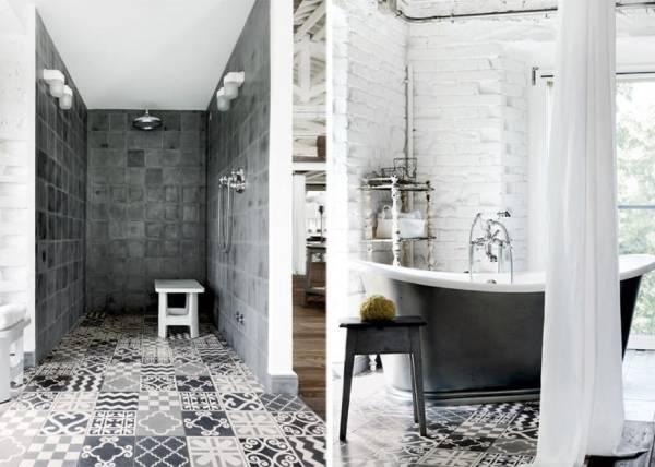 Дизайн ванной в стиле лофт - фото идеи для плитки