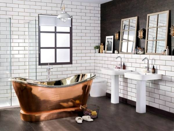 Luxury дизайн ванной в стиле лофт - фото