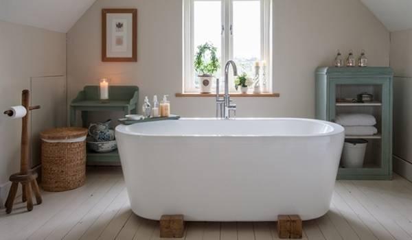 Уютная ванная комната в стиле лофт - фото интерьера
