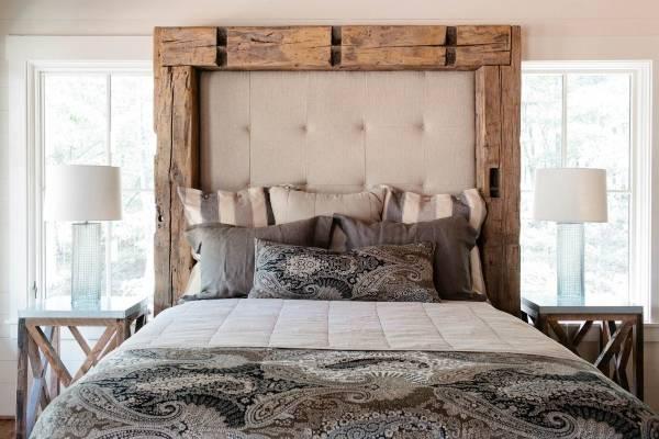 Деревянная кровать своими руками с мягким изголовьем - фото