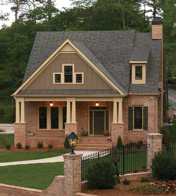 Дизайн крыльца частного дома - фото из красного кирпича