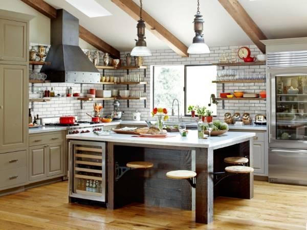 Самые красивые кухни - фото с открытыми полками в стиле лофт