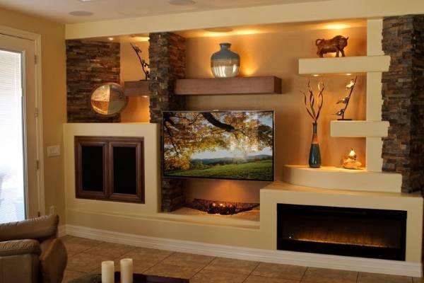 Гипсокартонные ниши под телевизор - фото в интерьере