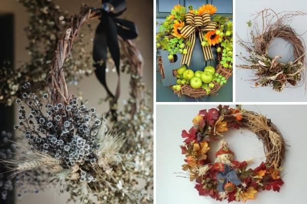 Осенний венок из листьев своими руками 72