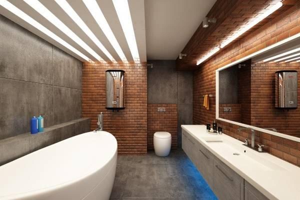 Плитка под кирпич и бетон для ванной в стиле лофт - фото