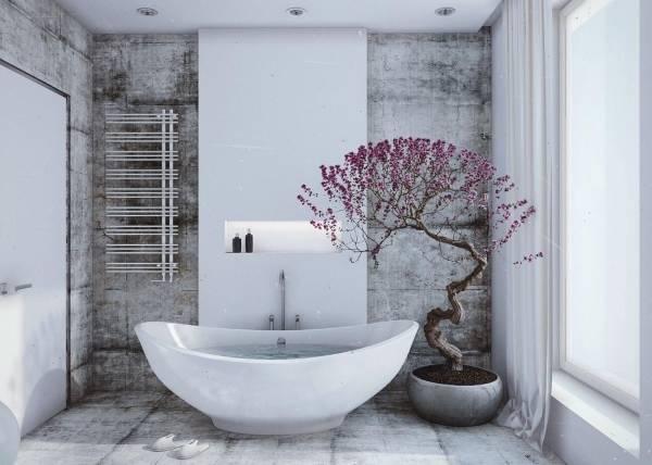 Плитка для пола и стен в ванной в стиле лофт - фото в интерьере