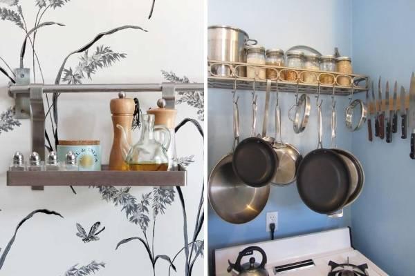 Удобные полочки для рейлинга на кухню - фото в интерьере