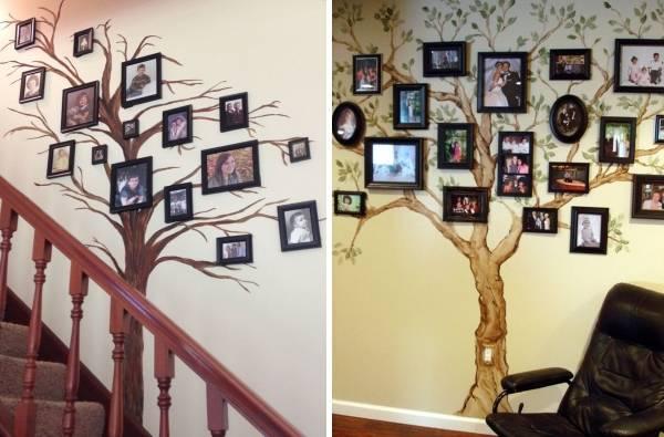 Идеи декорирования стен с фото - семейное дерево
