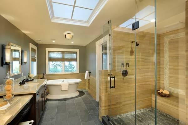 Серо бежевый интерьер ванной комнаты