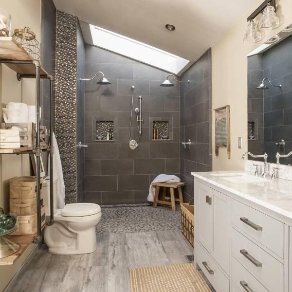 Ремонт ванной в стиле лофт - лучшие идеи 2016