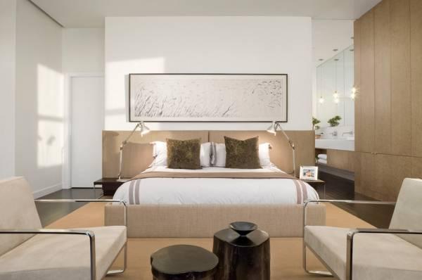 Кровати с мягким изголовьем в интерьере - фото в современном стиле