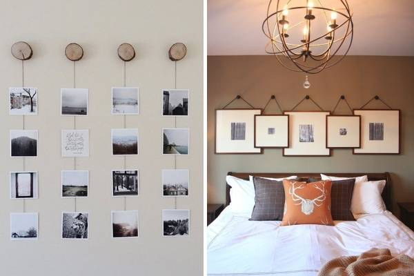 Красивые фотографии на стене - интересное оформление комнаты