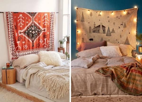 Осенний декор интерьера своими руками - фото спальни