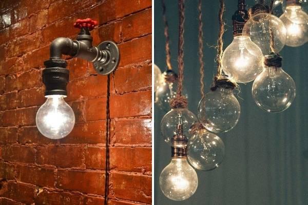 Самодельные светильники в стиле лофт в ванную