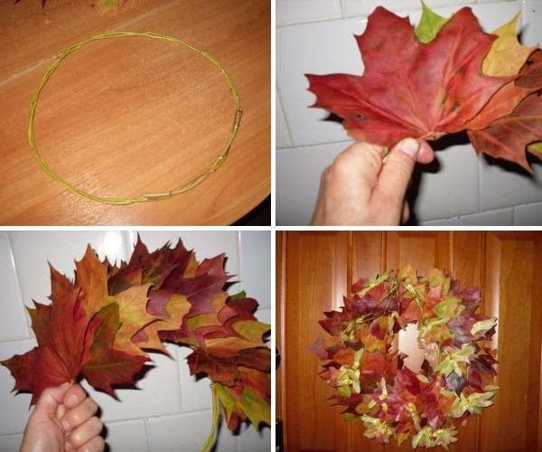 Кленовый венок из осенних листьев - фото инструкция