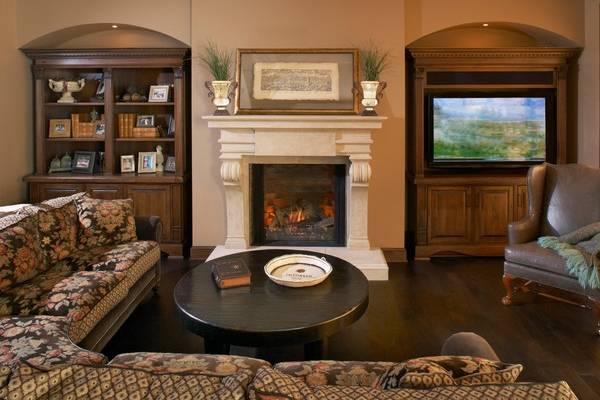 Вертикальная ниша под телевизор из гипсокартона - фото