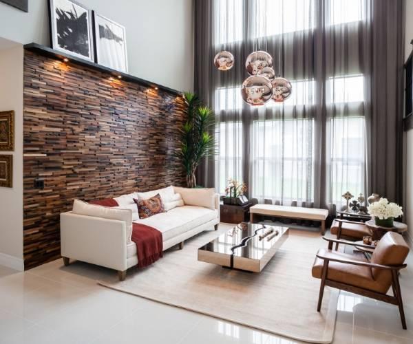 Деревянные панели в интерьере - шикарный дизайн гостиной